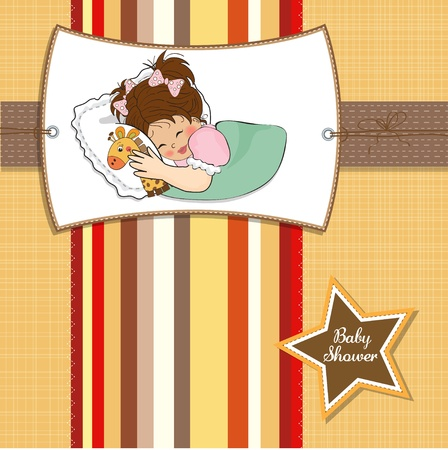 baby sleep: baby shower card with little girl and her toy