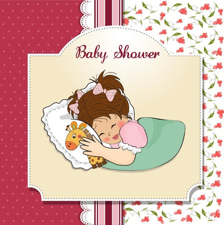 baby shower card with little girl and her toy Stock Vector - 12786290