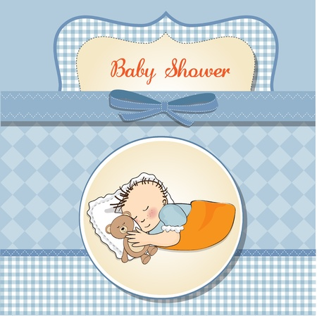 little baby boy sleep with his teddy bear toy  Baby shower card  Stock Vector - 12786223