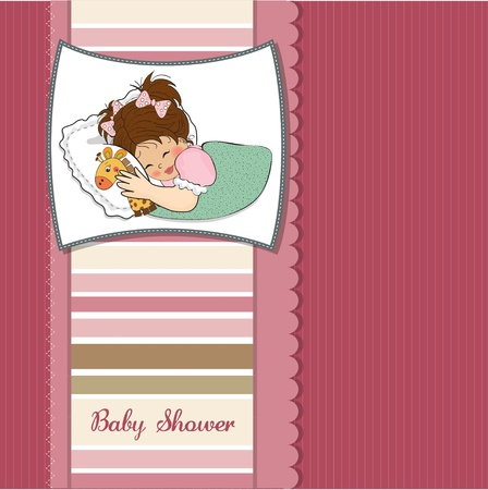 emotional love: baby shower card with little girl and her toy