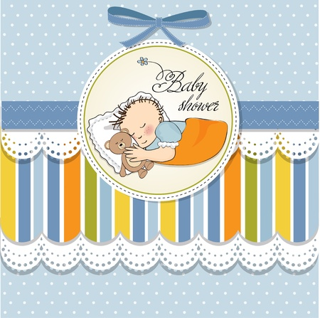 little baby boy sleep with his teddy bear toy  Baby shower card Stock Vector - 12786155