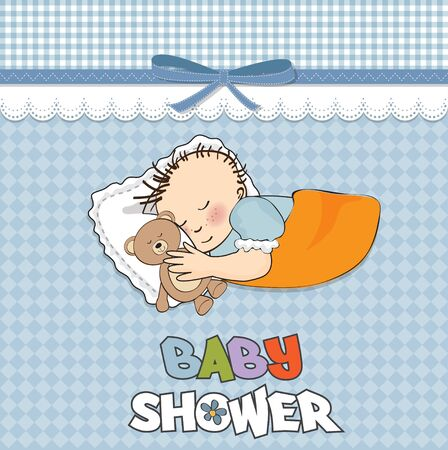 little baby boy sleep with his teddy bear toy Baby shower card