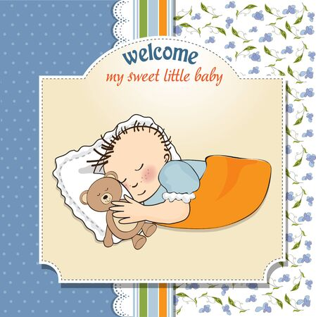 little baby boy sleep with his teddy bear toy  Baby shower card  Vector
