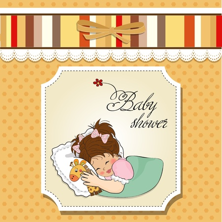 cute giraffe: baby shower card with little girl and her toy