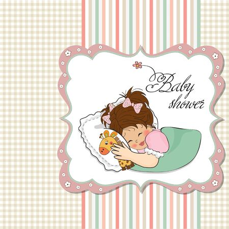 baby shower card with little girl and her toy  Vector