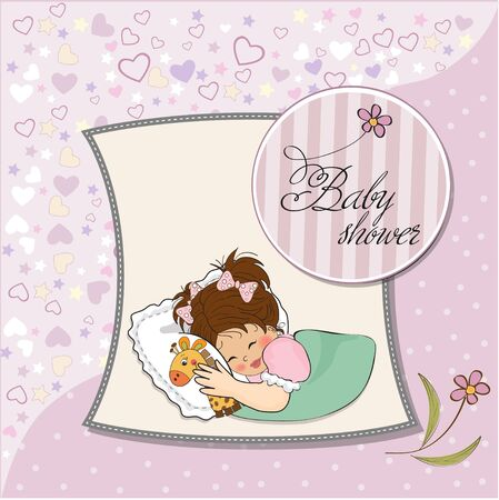 baby shower card with little girl and her toy Stock Vector - 12786135