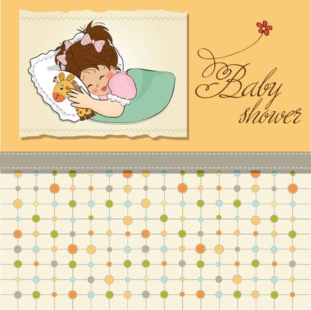 sweet background: baby shower card with little girl and her toy