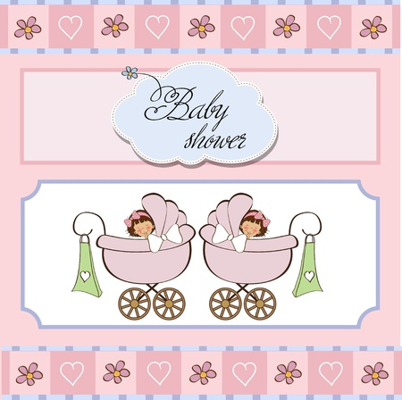 baby twins shower card  Stock Vector - 12786426