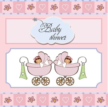 niñas gemelas: bebés gemelos tarjeta de ducha Vectores