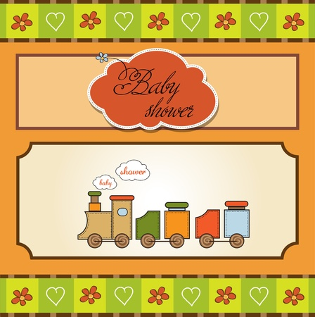 baby shower card with toy train  Stock Vector - 12786292
