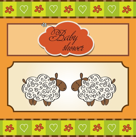 cute baby twins shower card with sheep  Vector