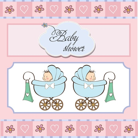 baby twins shower card  Vector