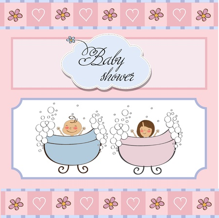 baby twins shower card Stock Vector - 12786319
