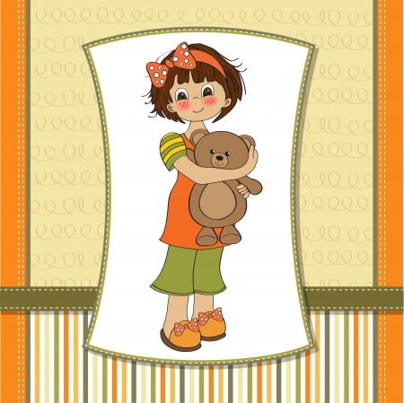 young girl going to sleep with her favorite toy, a teddy bear Stock Vector - 12786441