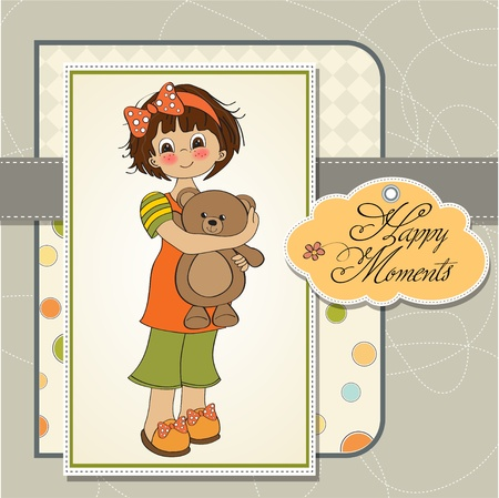 young girl going to sleep with her favorite toy, a teddy bear Stock Vector - 12786551