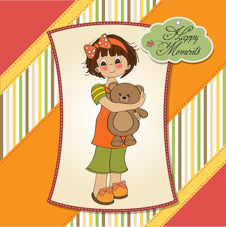 baby romantic: young girl going to sleep with her favorite toy, a teddy bear  Illustration