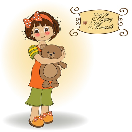 young girl going to sleep with her favorite toy, a teddy bear  Ilustração