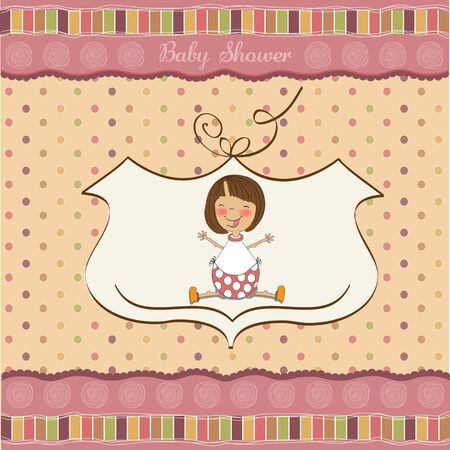 new baby girl shower card with little girl  Vector