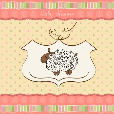 cute baby shower card with sheep  Vector