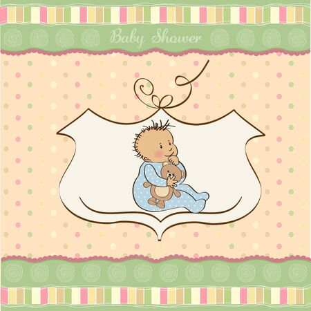 baby announcement card with little boy  Vector
