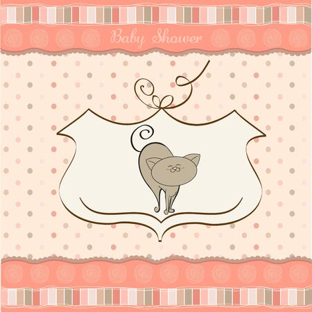 baby girl shower card with cat Stock Vector - 12786505