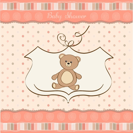 baby clip art: baby shower card with teddy