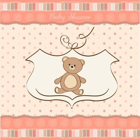 vintage teddy bears: baby shower card with teddy