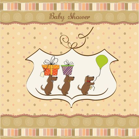 three dogs that offer a big gift  baby shower card  Vector