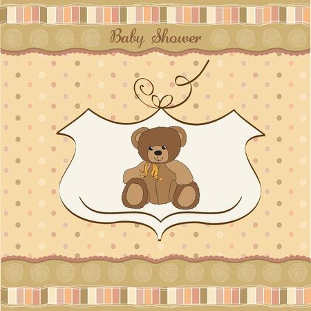 babero: Tarjeta de Baby Shower con osito Vectores