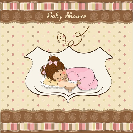 young girl: little baby girl play with her teddy bear toy  new baby announcement card