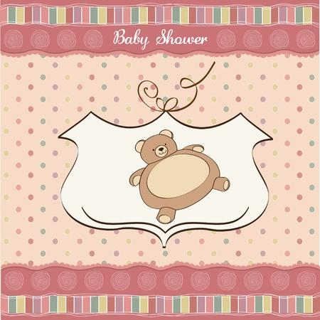 battesimo: bambino carta di doccia con orsacchiotto giocattolo Vettoriali