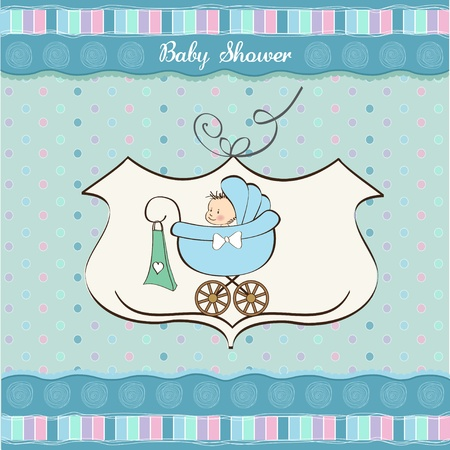 cute baby boy: baby boy announcement card with baby and pram