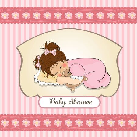 little baby girl play with her teddy bear toy   baby shower card  Vector
