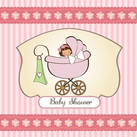 nacimiento bebe: aviso de la niña tarjeta con cochecito de niño