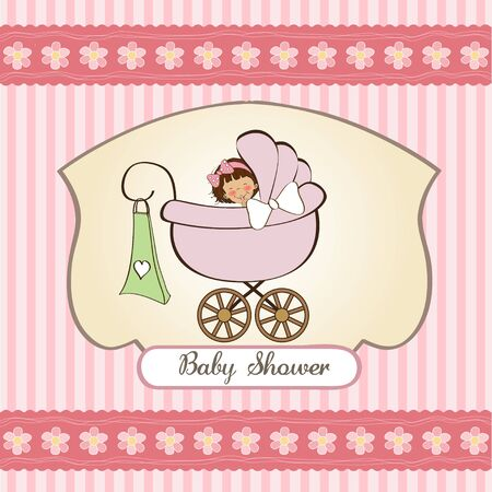 baby birth: baby girl announcement card with pram