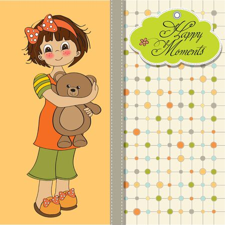 young girl going to sleep with her favorite toy, a teddy bear  Illustration