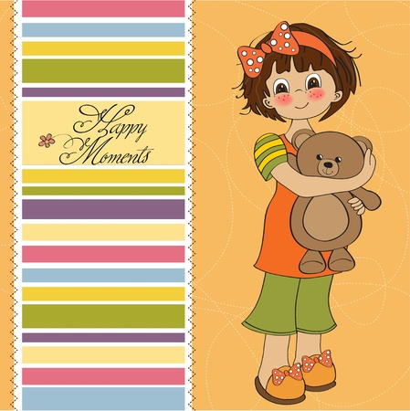 young girl going to sleep with her favorite toy, a teddy bear  Vector