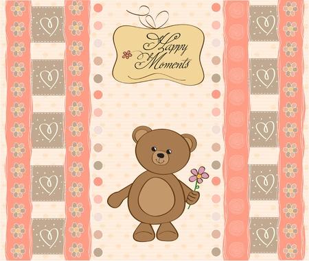 bib: baby shower card with teddy