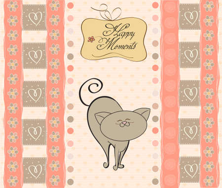 baby girl shower card with cat  Stock Vector - 12786600