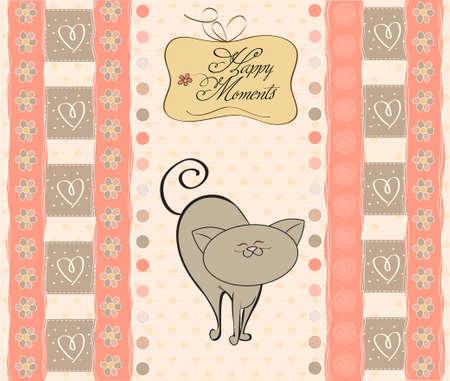 baby girl shower card with cat Ilustração Vetorial