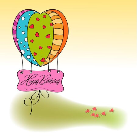 fly cartoon: happy birthday card with balloons