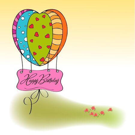 mosca caricatura: tarjeta de feliz cumpleaños con globos