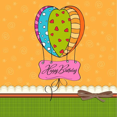 happy birthday card with balloons  Vector