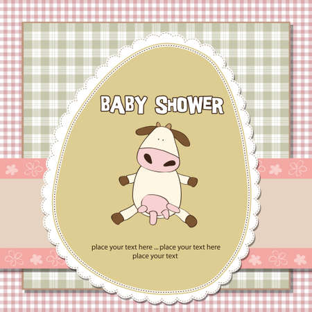 birthday greetings: new baby girl shower card with cow  Illustration