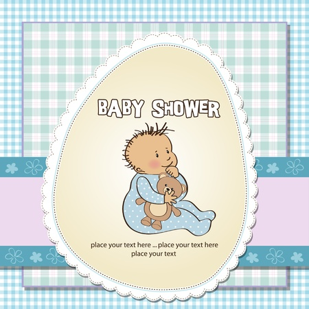 baby boy announcement: baby announcement card with little boy Illustration