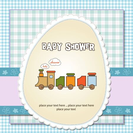 specifically: baby boy shower card with toy train  Illustration