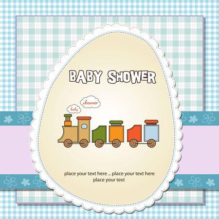 stripping: la ducha del beb� tarjeta con tren de juguete