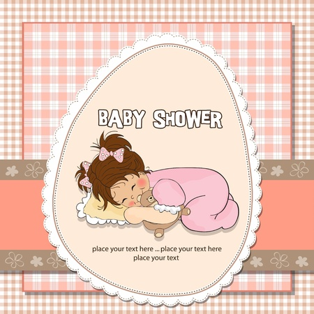 baby shower card with little baby girl play with her teddy bear toy Stock Vector - 12786695