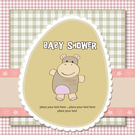 new baby girl shower card with hippo toy  Illustration