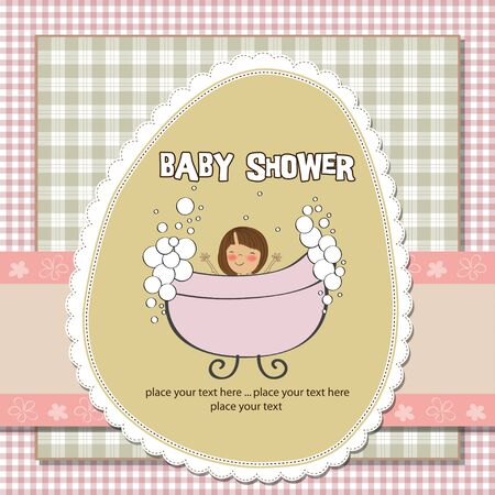 delicate baby girl shower card  Vector